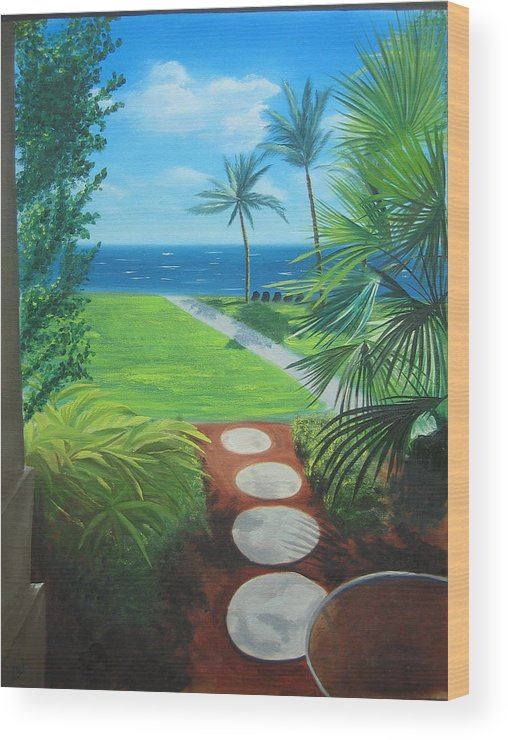 Seascape Wood Print featuring the painting Paradise Beckons by Lea Novak