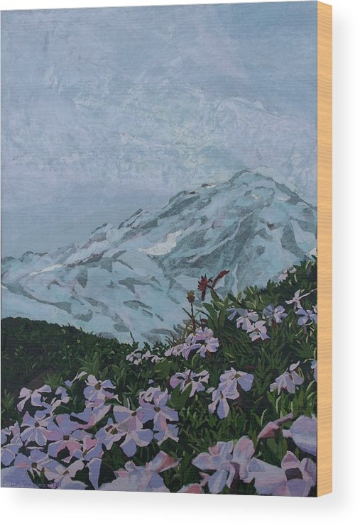 Landscape Wood Print featuring the painting Paradise Mount Rainier by Leah Tomaino
