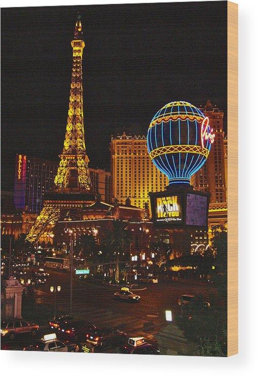 Paris In Las Vegas Wood Print featuring the photograph Paris In Las Vegas-nevada by Ruth Hager