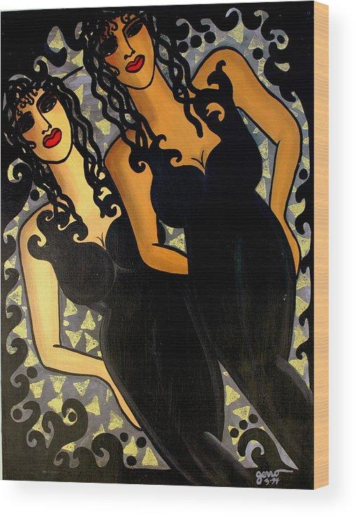 Figures Artwork Wood Print featuring the painting Paris Nights by Helen Gerro