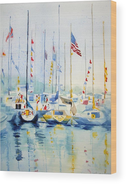 Sailboat Wood Print featuring the painting Party by Judy Fischer Walton