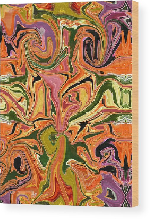 Abstract Wood Print featuring the digital art Paths Crossed by Florene Welebny