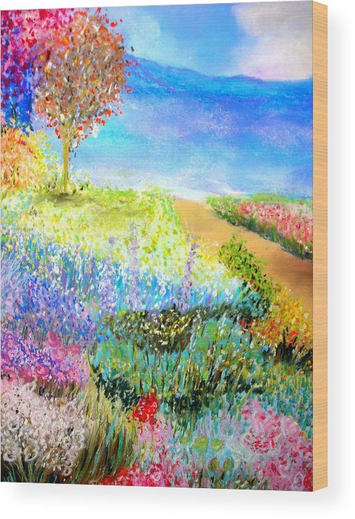 Landscape Wood Print featuring the print Patricia's Pathway by Melinda Etzold