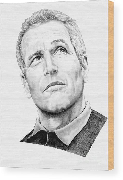 Paul Newman Wood Print featuring the drawing Paul Newman by Murphy Elliott