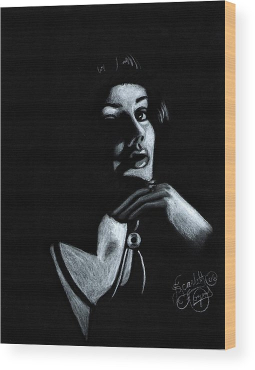 Portrait Wood Print featuring the drawing Persuasion by Scarlett Royal