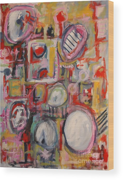 Abstract Wood Print featuring the painting Pink Crowd by Michael Henderson