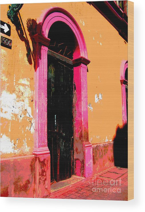 Darian Day Wood Print featuring the photograph Pink Door 1 By Darian Day by Mexicolors Art Photography