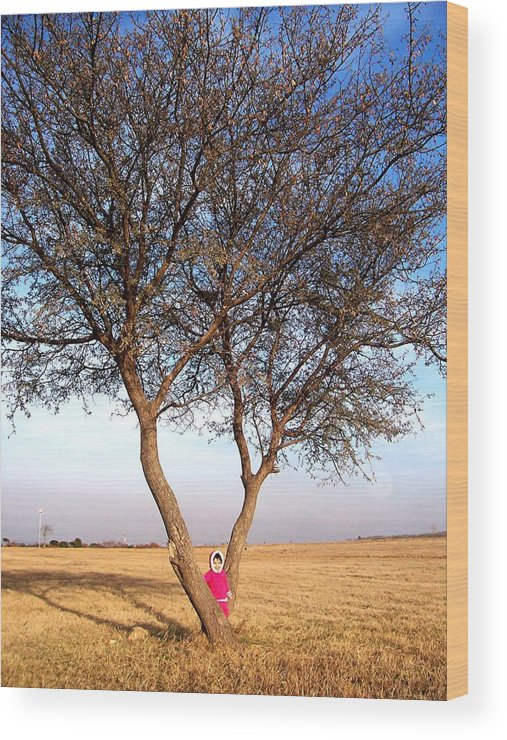 Figure Wood Print featuring the photograph Pink Field Gnome by Caroline Urbania Naeem