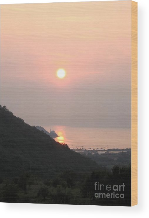 Sunset Wood Print featuring the photograph Piran's Sunset II by Dragica Micki Fortuna