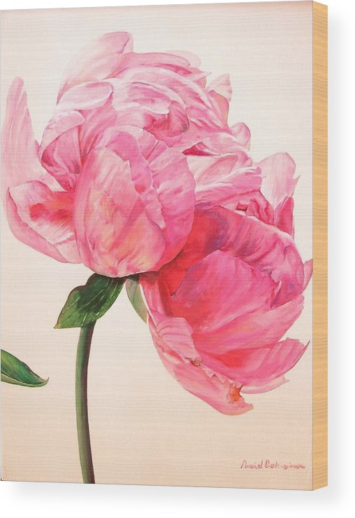 Floral Painting Wood Print featuring the painting Pivoine 3 by Muriel Dolemieux