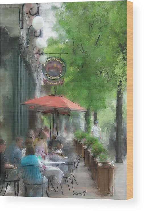Summer Tea Painting Street Oil Envy Chairs Cafe Sunday Umbrella Wood Print featuring the painting Point Of View by Eddie Durrett
