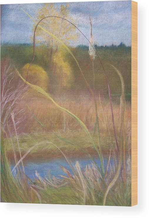 Wetlands Wood Print featuring the pastel Portal by Jackie Bush-Turner