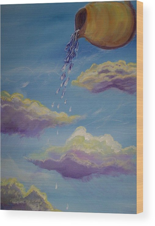 Prophetic Wood Print featuring the painting Poured Out Blessings by Wendy Smith