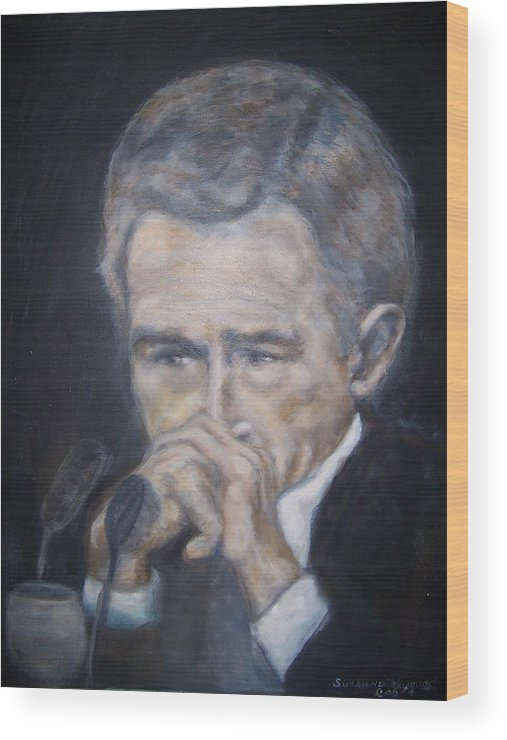 President George Bush Wood Print featuring the painting President George Bush by Suzanne Reynolds