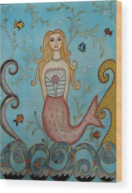 Folk Art Paintings Wood Print featuring the painting Princess Mermaid by Rain Ririn