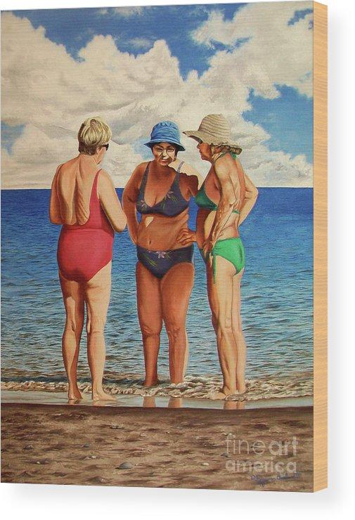 Woman Wood Print featuring the painting Profound Matters - Asuntos Profundos by Rezzan Erguvan-Onal