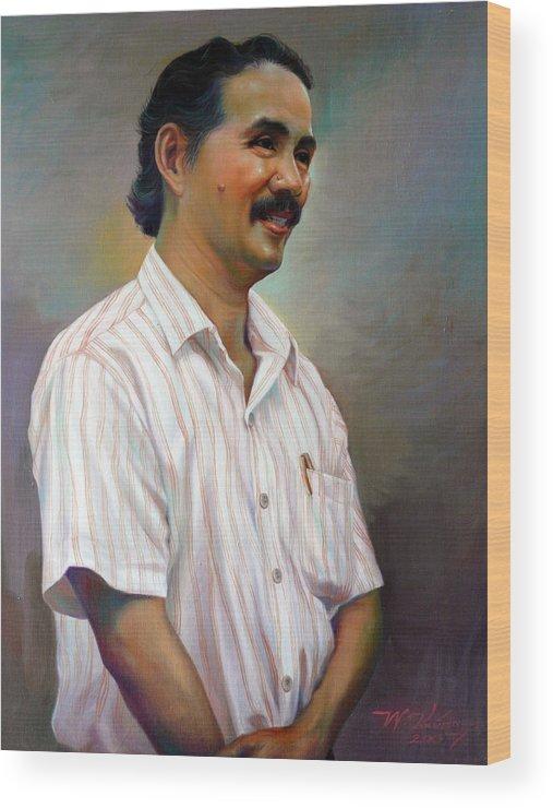 Portrait Wood Print featuring the painting Prof.panya Petchoo by Chonkhet Phanwichien
