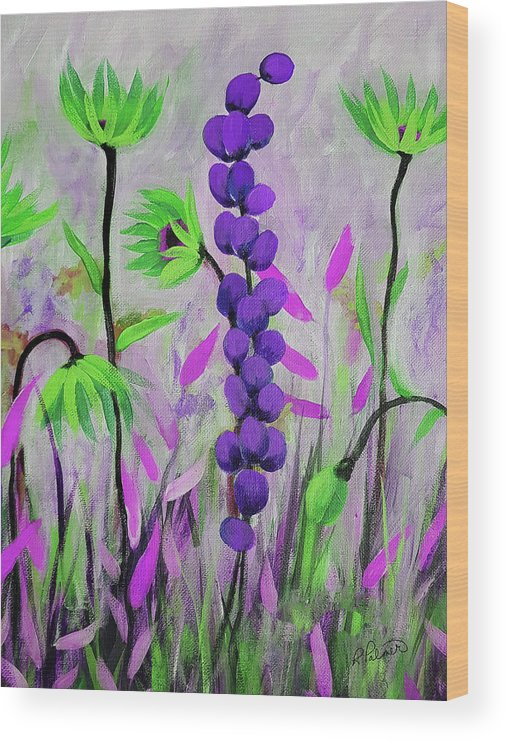 Acrylic Wood Print featuring the painting Purple And Green Flowers by Ruth Palmer