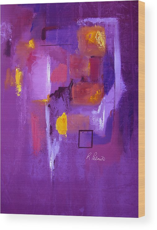 Purple Abstract Wood Print featuring the painting Purple Enclosure by Ruth Palmer
