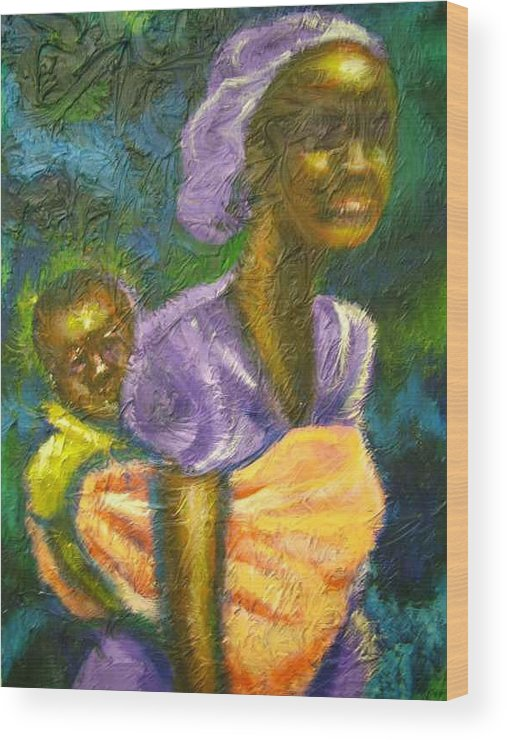 Mother And Child Wood Print featuring the painting Safe And Secure by Jan Gilmore