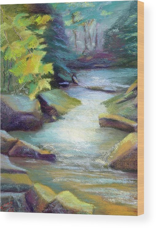 Waterscape  Quiet Summer Stream In The Mountains. Wood Print featuring the painting Quiet Stream by Melanie Miller Longshore