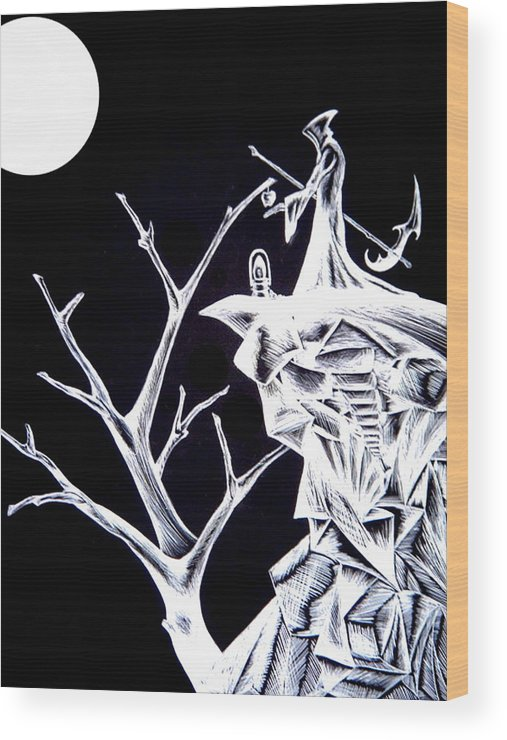 Fantasy Art Wood Print featuring the drawing Reap by Jeff DOttavio