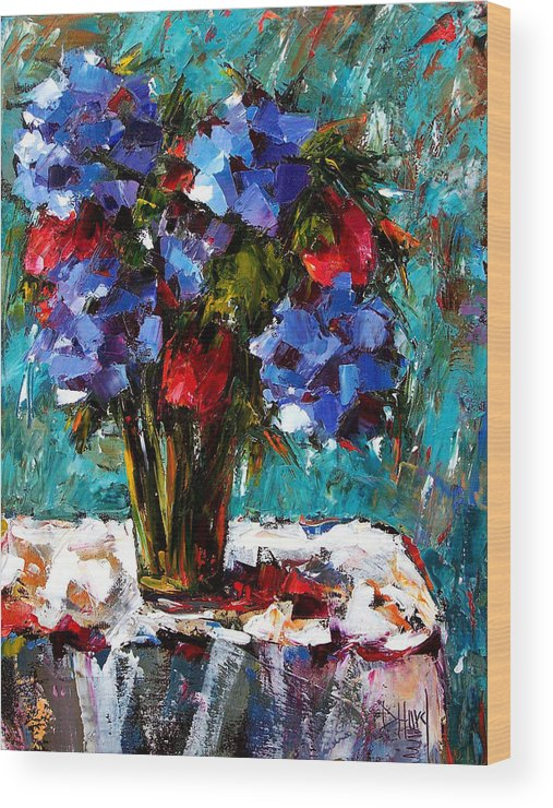 Wood Print featuring the painting Red And Blue by Debra Hurd