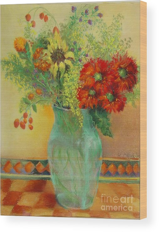 Floral Wood Print featuring the painting Red Daisies In Green Glass                 Copyrighted by Kathleen Hoekstra