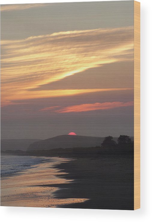 Sunset Wood Print featuring the photograph Red Half Dome Of Sun And Zig Zag Clouds And Surf by Andrea Freeman
