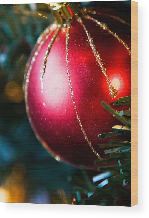 Red Wood Print featuring the photograph Red Shiny Ornament by Marilyn Hunt