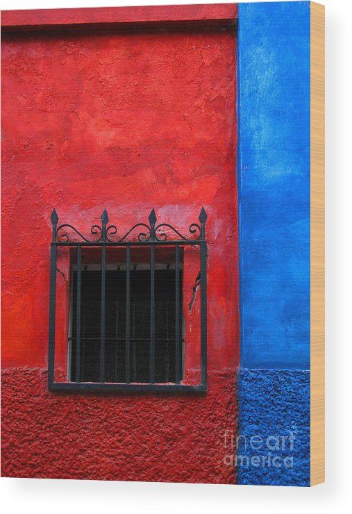 Darian Day Wood Print featuring the photograph Red Window With Blue By Darian Day by Mexicolors Art Photography