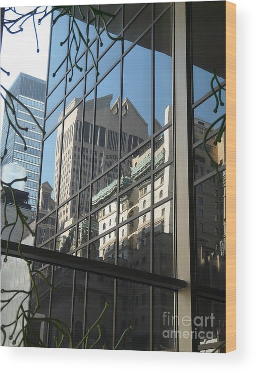 New York Wood Print featuring the photograph Reflected Johnson by Donna McLarty