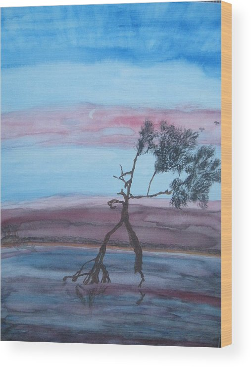 Landscape Acrylic Water Tree Wood Print featuring the painting Reflections by Warren Thompson