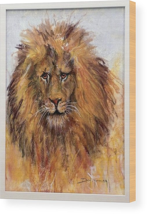 Lion Wood Print featuring the painting Regis by David Horning