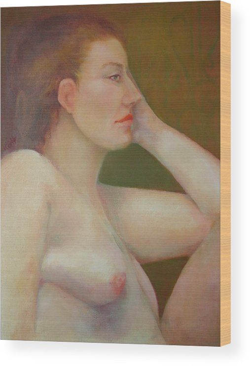 Portrait Wood Print featuring the painting Renaissance Nude Copyrighted by Kathleen Hoekstra