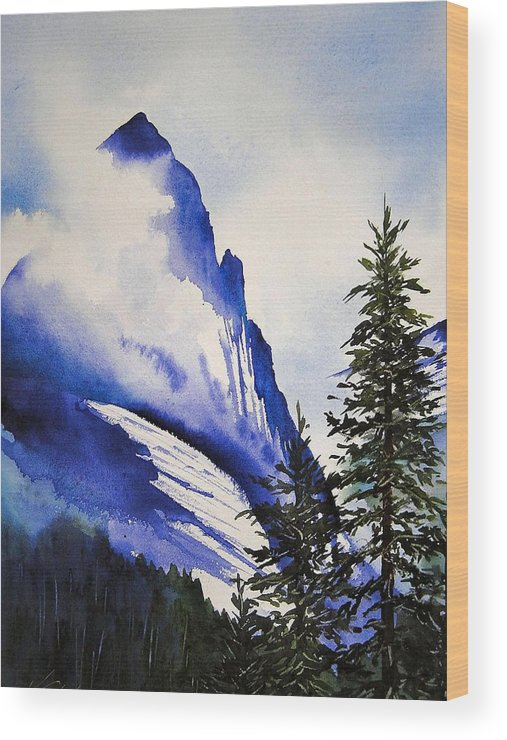 Rocky Mountains Wood Print featuring the painting Rocky Mountain High by Karen Stark