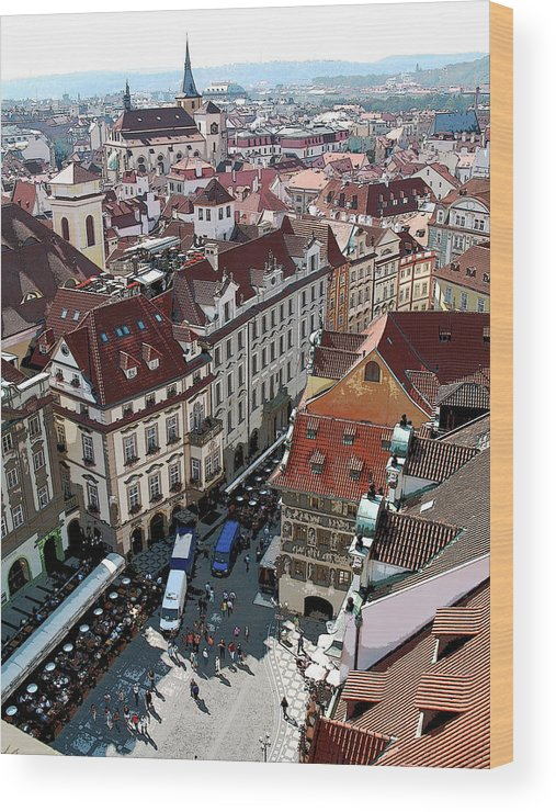 Czech Republic Wood Print featuring the photograph Rooftop In Prague by Joanne Riske