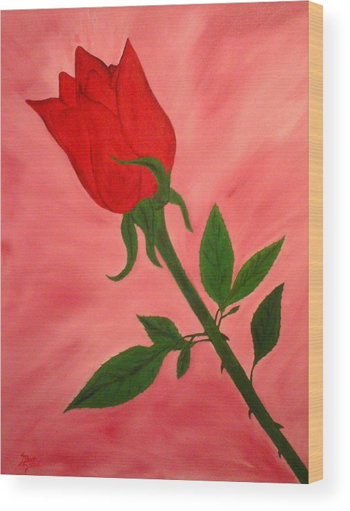 Landscape Wood Print featuring the painting Rose by Guillermo Mason