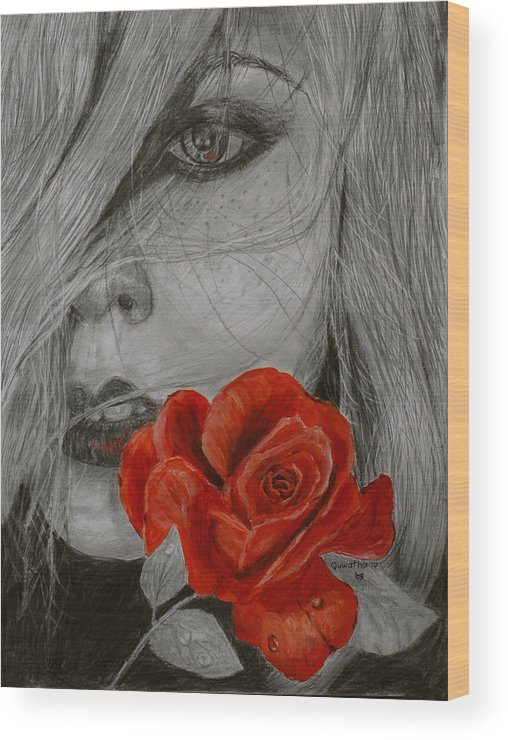 Woman Wood Print featuring the painting Rose Kisses by Quwatha Valentine