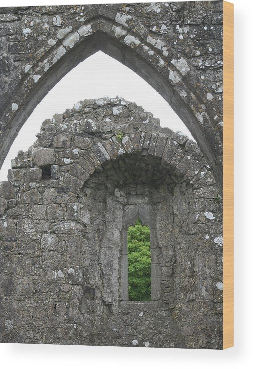 Ireland Wood Print featuring the photograph Ruins Of A 9th Century Monastery In Ireland by Beverlee Singer