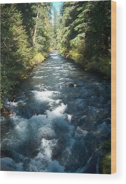 Water Stream Creek Mckenzie River Bend Oregon Wood Print featuring the photograph Rushing Waters by Janet Hall