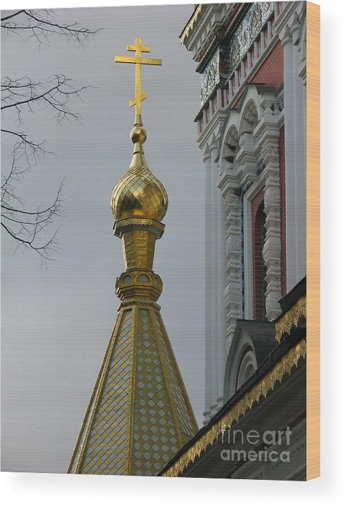 Chirch Wood Print featuring the photograph Russian Church Dome by Iglika Milcheva-Godfrey