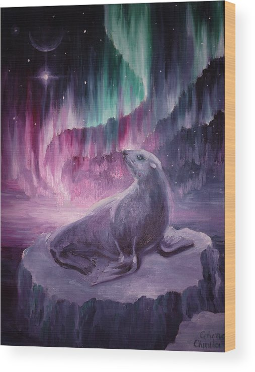 Seal Wood Print featuring the painting Sad Lonely Seal by Chirila Corina