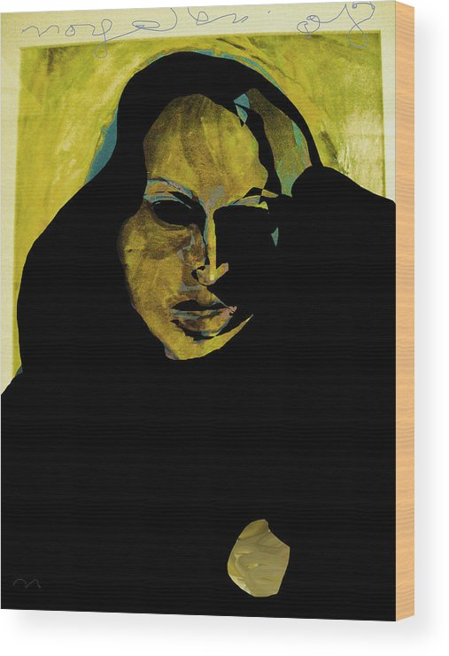 Woman Wood Print featuring the painting Sadness by Noredin Morgan
