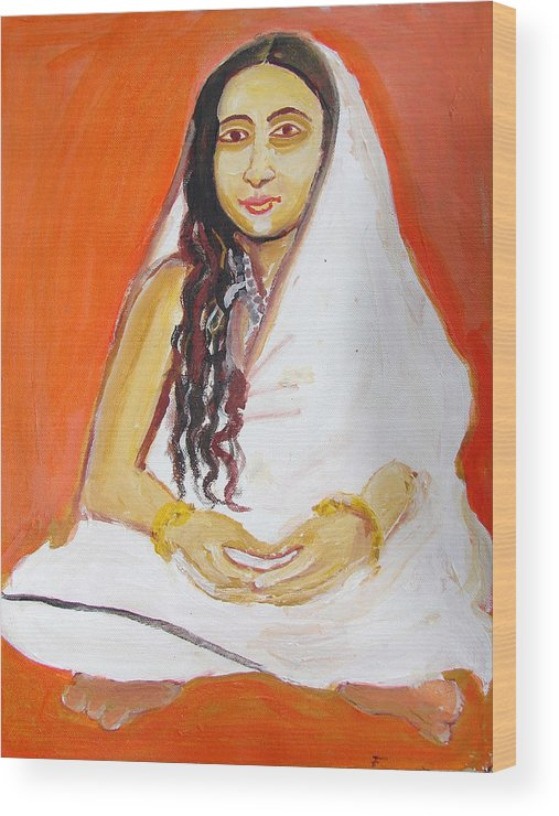 Paintings In Acrylics And Oils On --- Indian Saints Wood Print featuring the painting Saint 4 by Anand Swaroop Manchiraju