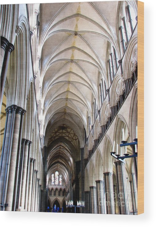Salisbury Wood Print featuring the photograph Salisbury Cathedral by Amanda Barcon
