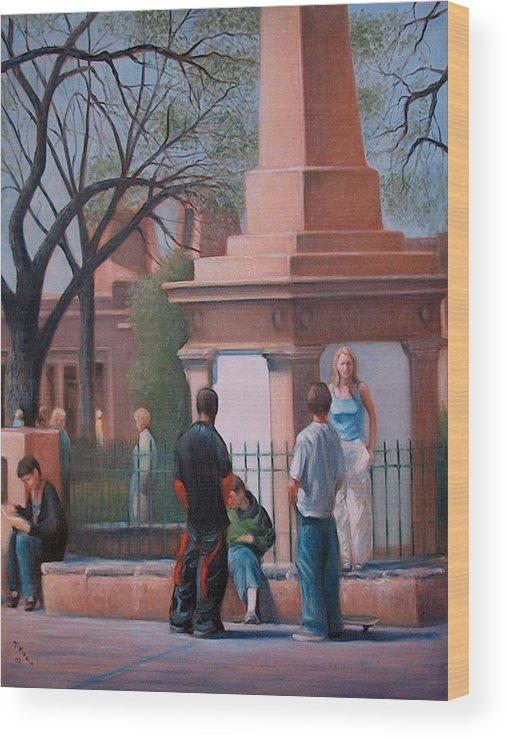 Realism Wood Print featuring the painting Santa Fe Plaza by Donelli DiMaria