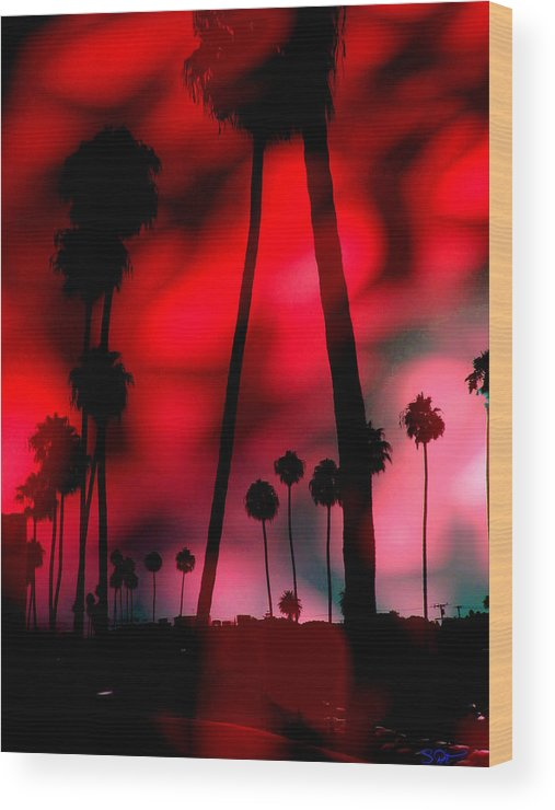 Sunrise Wood Print featuring the digital art Santa Monica Palms Fiery Red Sunrise Silhouette by Abstract Angel Artist Stephen K
