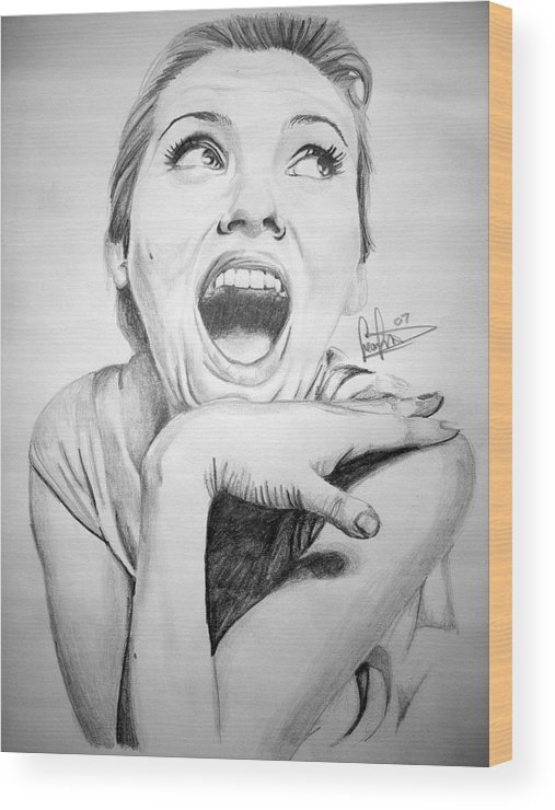 Celeb Portraits Wood Print featuring the drawing Scarlett Johansson by Sean Leonard