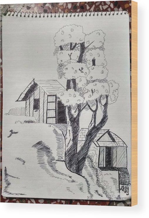 Landscape Of A Scene Behind New York City. Wood Print featuring the drawing Scene Behind Rural by Abhishek Chaurasia